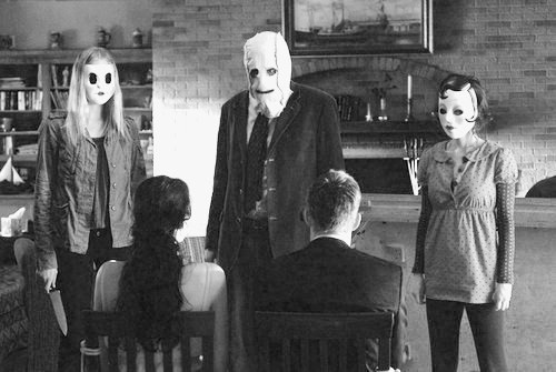 black and white, horror, masks, movie, the strangers