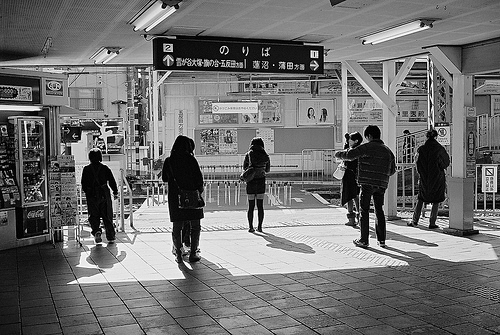 black and white, japan, people, station, tokyo