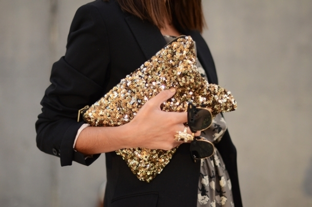 black, blazer, brunette, chic, clutch
