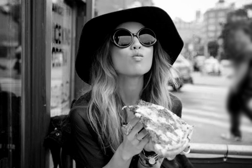 black&white, elegant, fashion, food, girl, hat, jewellery, long hair, photography, pizza, style, sunglasses