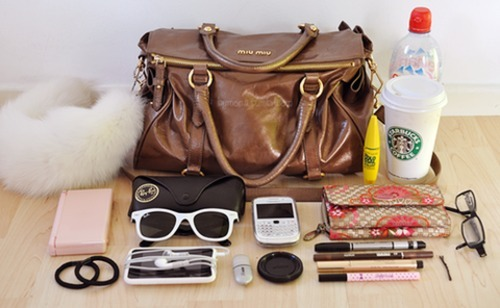 blackberry, cell phone, coffee, glasses, ipod, khol pencil, makeup, mascara, nintendo ds, purse, scarf, starbucks, wallet, water