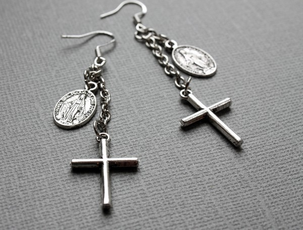 blackbow jewelry, cross, earrings, jewelry, virgin mary