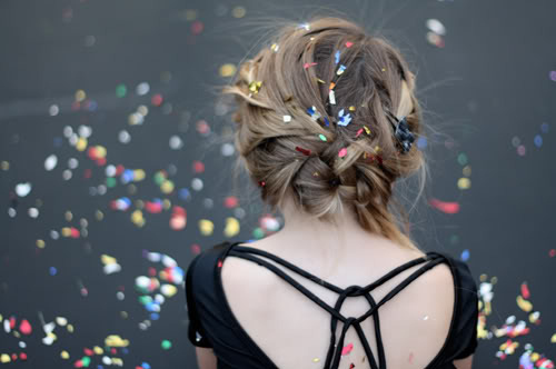 blond, braid, color, colorful, confetti