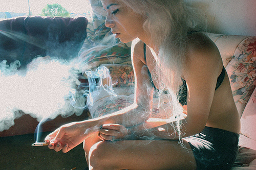 blond, cigaretes, cigarette, girl, light, scene, smoke, sun, weed