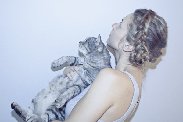 blonde, blue, braid, cat, cute