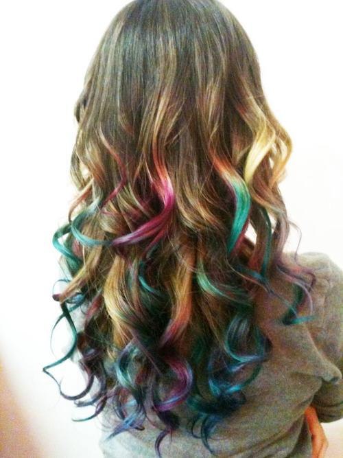 blonde, blue hair, colored hair, curl, dye