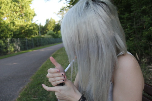 blonde, cigarette, girl, smoke, smoking