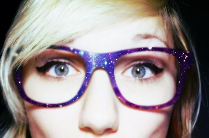 blonde, eyes, galaxy, girl, glasses