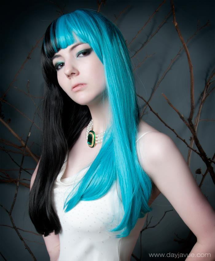 blue and black, blue hair, cool hair, cute, fashion