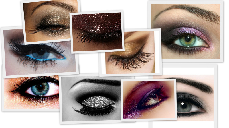 blue, brown, eyeshadow, glitter, make-up