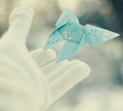 blue, butterfly, flying, origami, pretty, white, winter