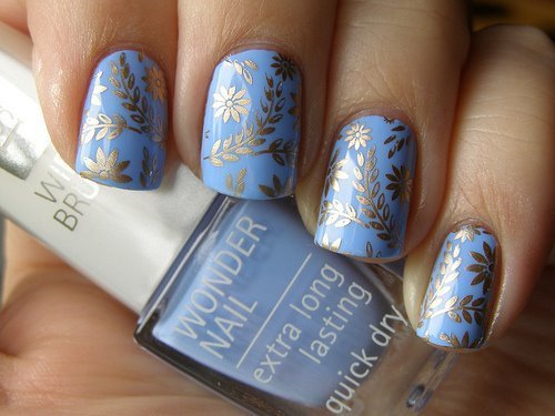 blue, cute, flowers, gold, nails
