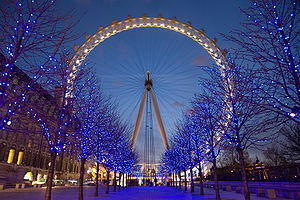 blue, ferris wheel, lights, london eye, trees