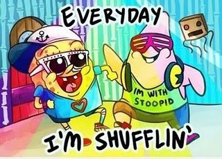 bob esponja, colour, fun, glases, music, party, shuffle