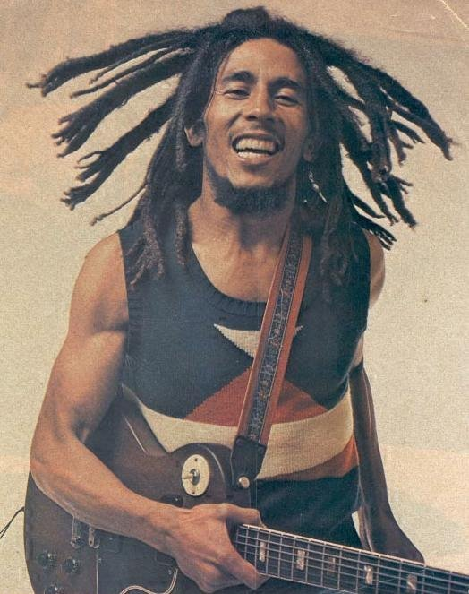 bob marley, dreads, guitar, smile