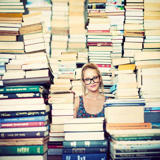 books, colorful, girl, glasses