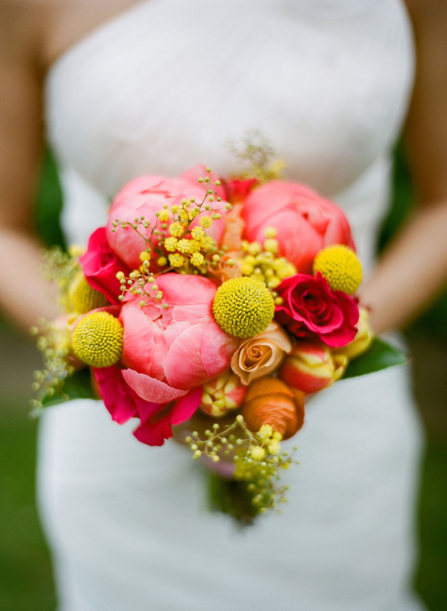 bouquet, flowers, orange, pony, wedding