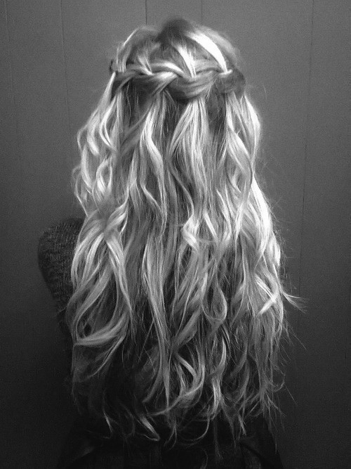 braid, hair, waterfall