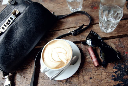 breakfast, cappuccino, coffee, fashion, glamour, ray-ban, style, vintage, water, wood