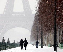 bridge, city, cold, couple, france