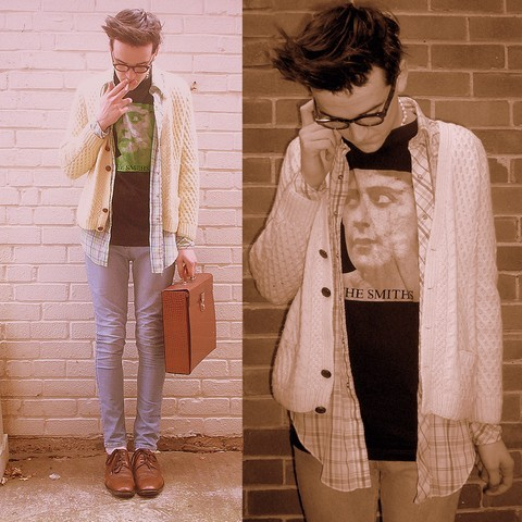 briefcase, clothes, fashion, glasses, jeans, morrissey, the smiths