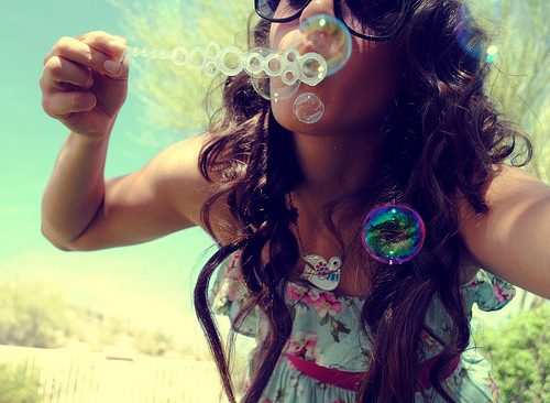 bruette, bubbles, cute, dress, fun, girl, hair, soap bubbles, summer, sunshine