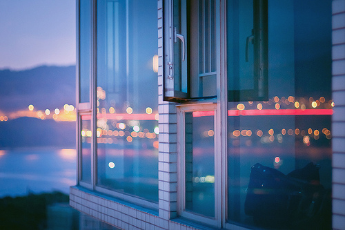 building, city lights, effects, glass, house, light effects, light reflection, lights, photography, reflection, text, water, window