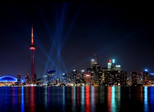 buildings, canada, city, cn tower, lights, night, skyline, toronto, town, water