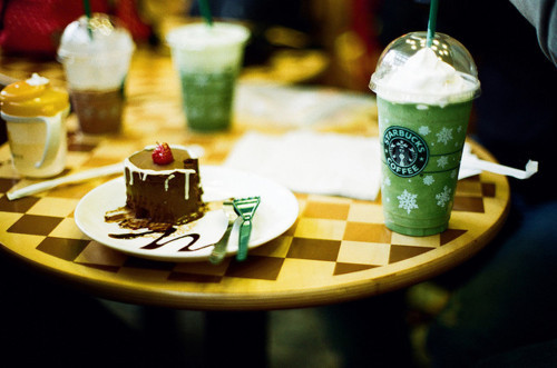 cake, coffee, drink, food, starbucks