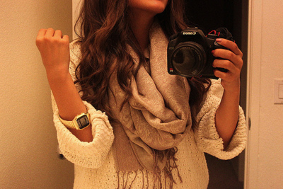 camera, cannon, girl, hair, pretty, scarf, sweater, watch