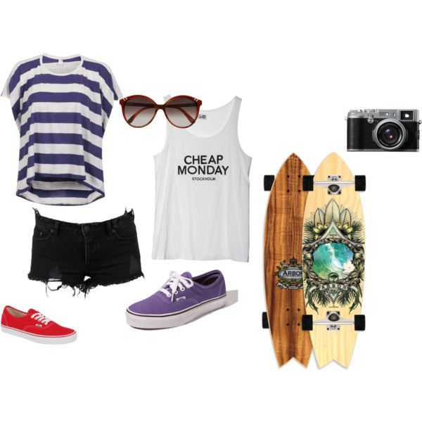 camera, glasses, longboard, vans, vintage