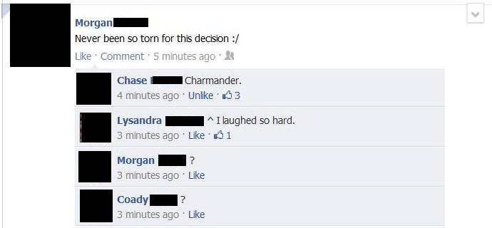 charmander, conversation, facebook, funny, hilarious