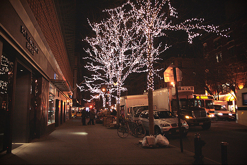 christmas, city, lights, new york, nyc, outdoor, streets