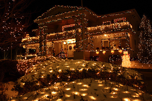 christmas, cold, cozy, cute, fairy lights