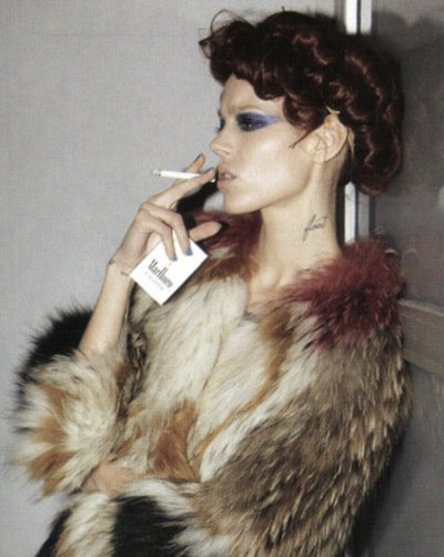 cigarette, coat, editorial, fashion, fur, model, smoke, smoking