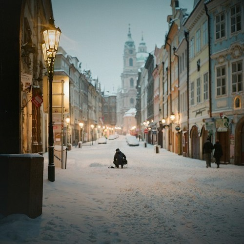 city, czech republic, lmao not london, london, not london! lol, prague, pretty, snow, this is prague, white, winter