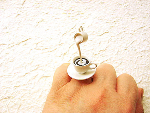 coffee, coffee cup, cream, jewellery, jewelry, milk, ring