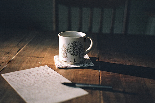 coffee, comfort, paper, pen, tea, vintage