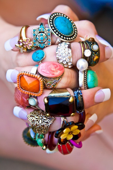 colorful, jewlery, nails, rings