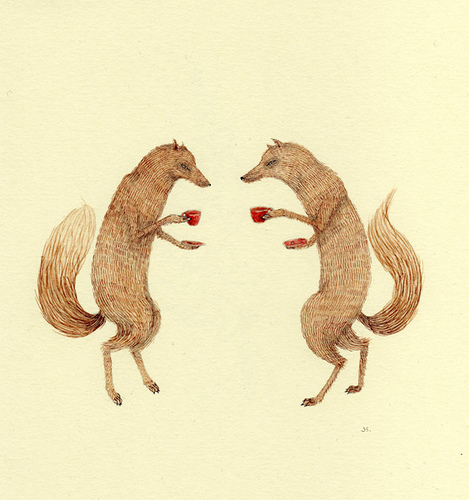 conversation, drawing, fox, foxes, illustration, julianna swaney, pencil, tea, watercolor s