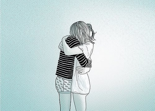 cool, couple, cute, friends, girlfriends, girls, happiness, hug, illustration, love, people