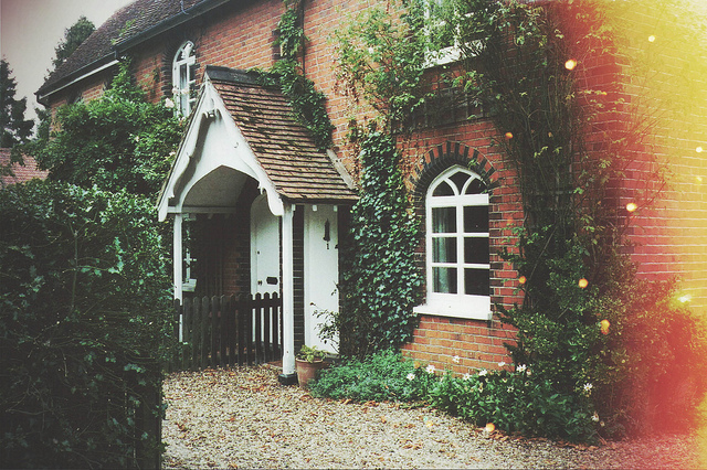 cottage, cute, film, flowers, house