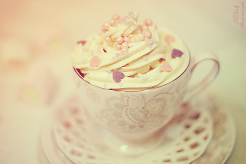 cupcake, floral, hearts, icing, pearls, pink, sweet, vintage, white