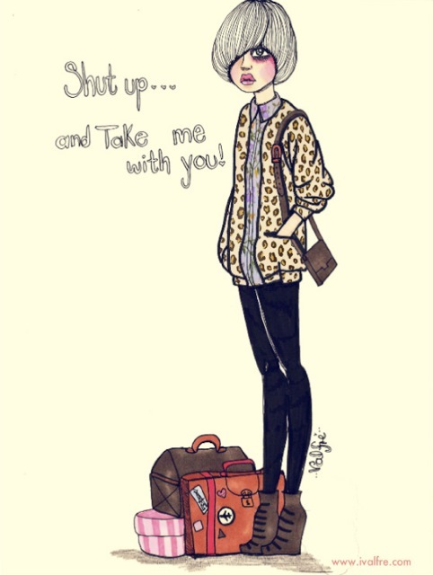 cute, fashion, girl, illustration, ilse valfre, leopard print, love, outfit, pretty, quote, text, travel, valfre