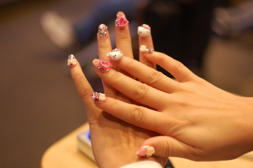 cute, fashion, girly, hello kitty, nail art