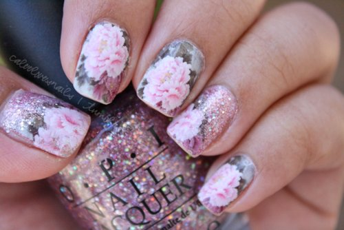 cute, flower, glitter, nails