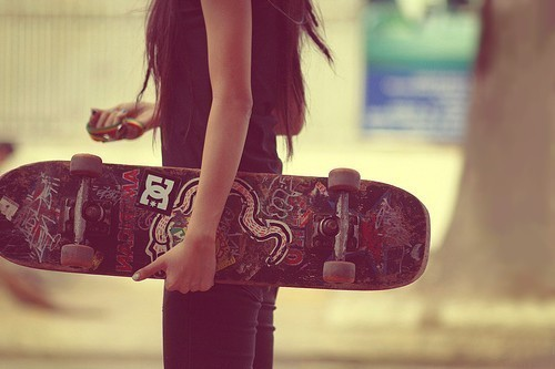 cute, girl, photography, skate board
