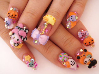 cute, halloween, halloween nails, hello kitty, japanse nails