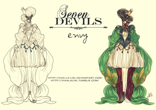 deviant art, drawing, envy, fashion, green, seven deadly sins, sin