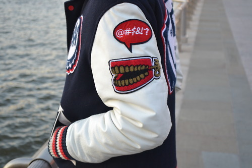 dope, fresh, letterman jacket, patch, swag, varsity jacket
